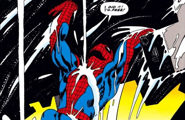 Steve Ditko illustrates Spider-Man lifting rubble