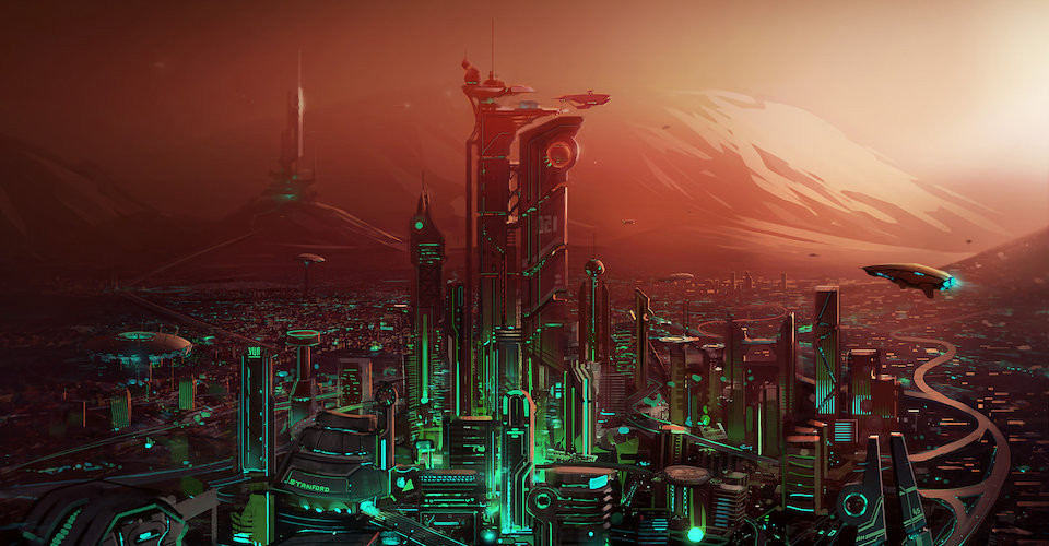 Martian cityscape, before the fall