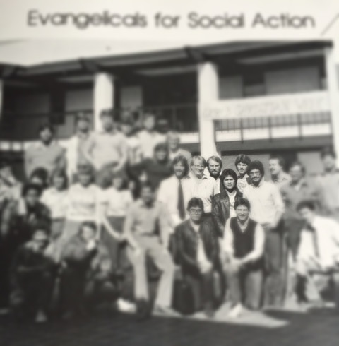 ESA chapter on the campus of Southern California College, circa 1983. Intentionally blurred to protect the innocent