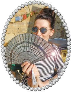 Amanda Embellished bamboo fan