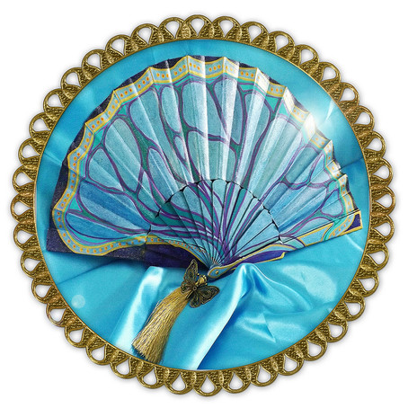 Example of Fabric and Plastic Hand Fan
