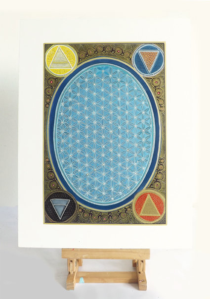 Mixed media -  Blue Flower of Life