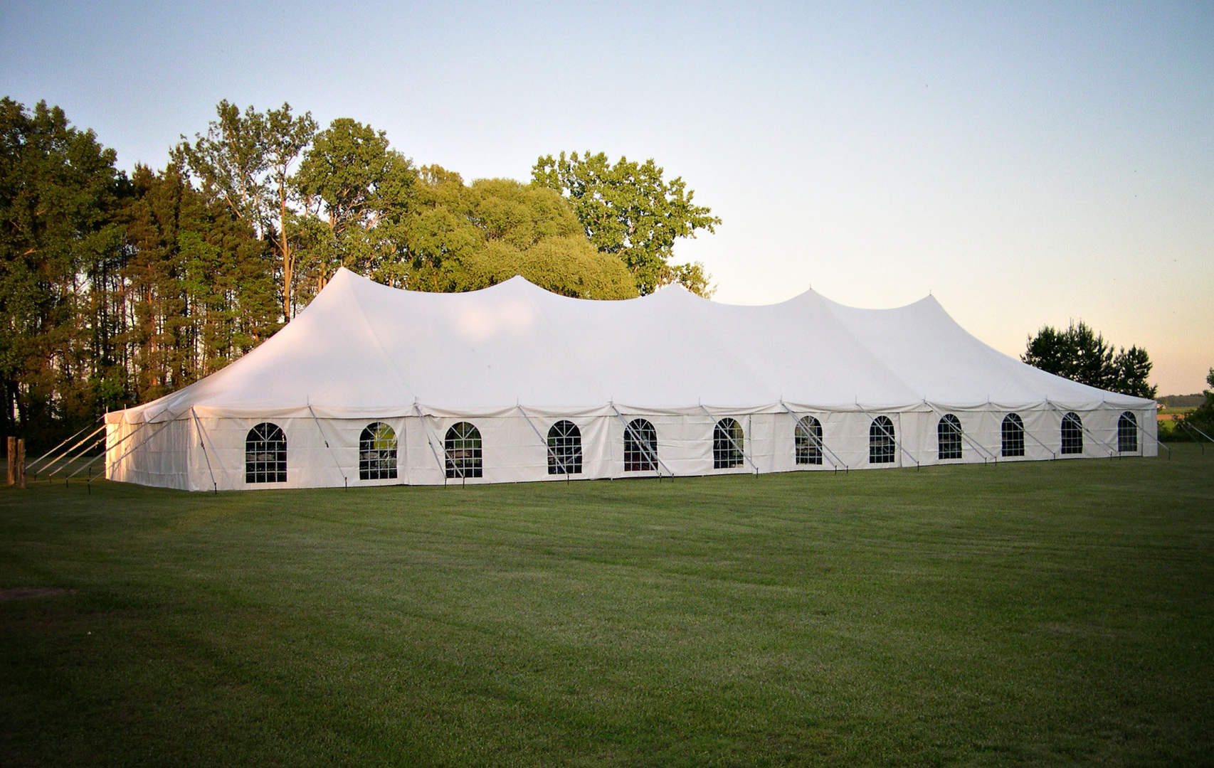40x120 wedding tent with window sidewall