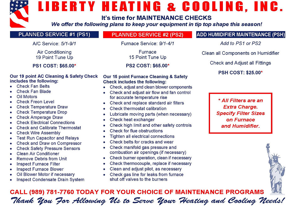 Liberty Heating & Cooling Maintenance Plans