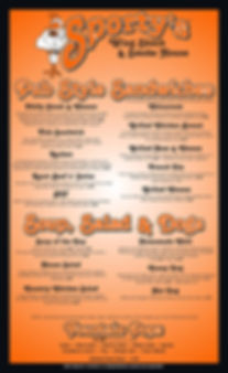 Sporty's Wing Shack Menu