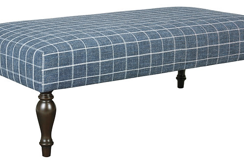 Navy Plaid Oversized Ottoman