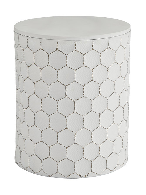 White Honeycomb Stool/End Table
