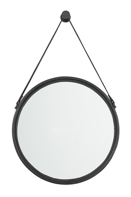 Black Round Mirror with Leather Strap