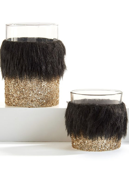 Fur & Glitter Candle Holders