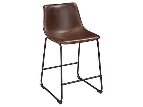 Brown & Metal Scooped Seat BarStool