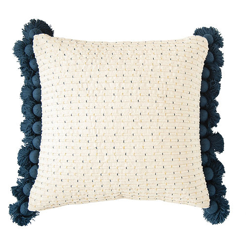 "24"" Square Cotton Embroidered Pillow w/ Navy Tassels"
