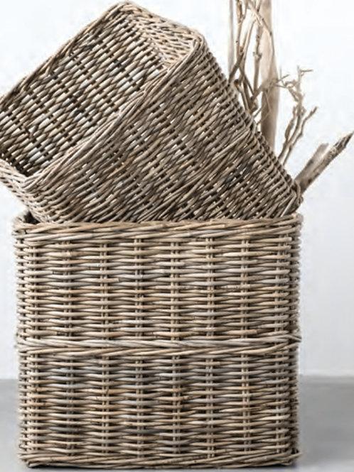 Large Rattan Baskets, Set of 2