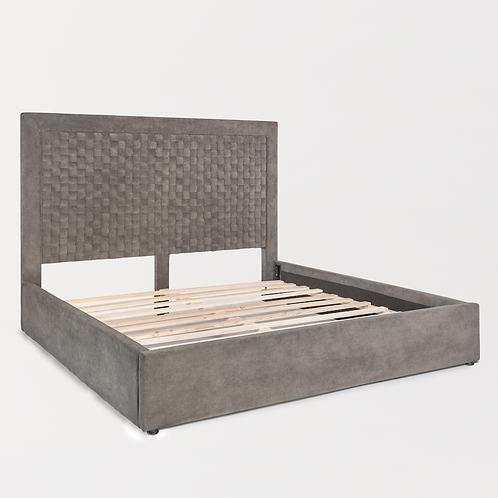 Basket Weave Velvet Charcoal Upholstered Bed