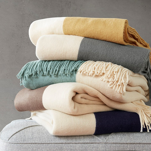 Colorblock Faux Cashmere Throw