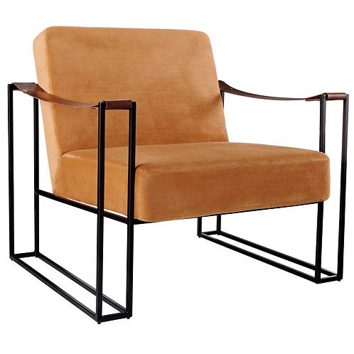 Orange Velvet Modern Chair