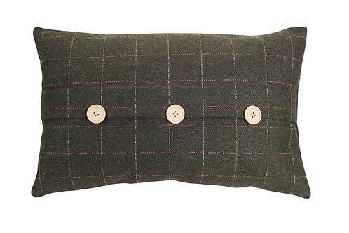 Green Plaid Lumbar Pillow