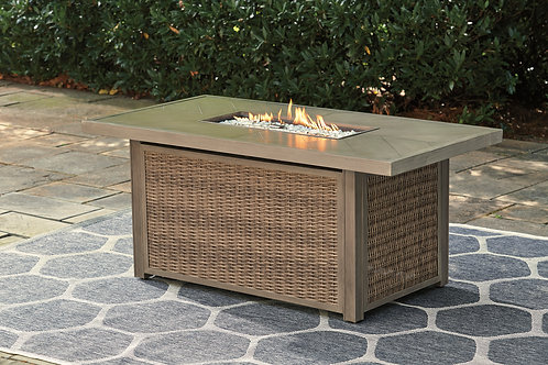 Beach Outdoor Rectangular Fire Pit Coffee Table