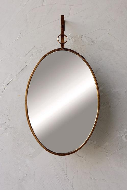 Oval Metal Framed Wall Mirror w/ Bracket, Set of 2