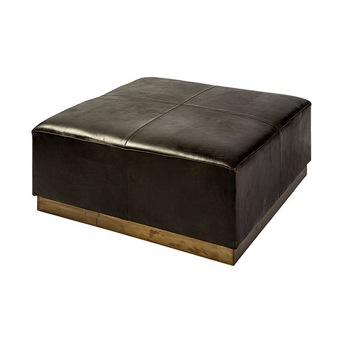 Black Leather Cocktail Ottoman