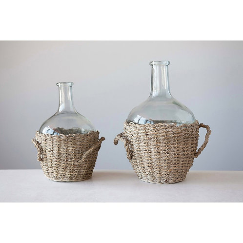 Seagrass Basket Glass Bottle, 2 sizes available