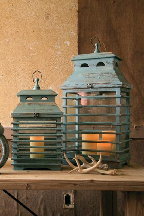 Blue Shutter Lantern Set of 2