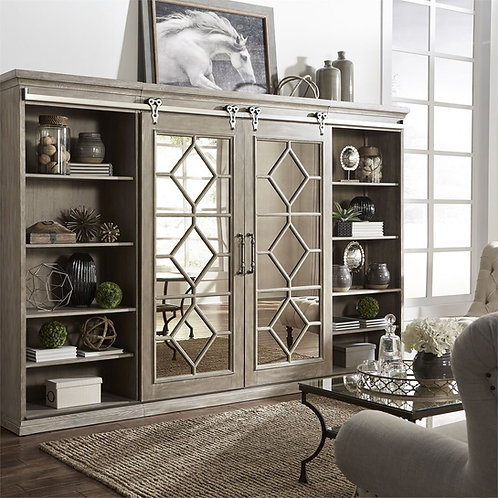 Taupe Mirrored Entertainment Center with Sliding Doors