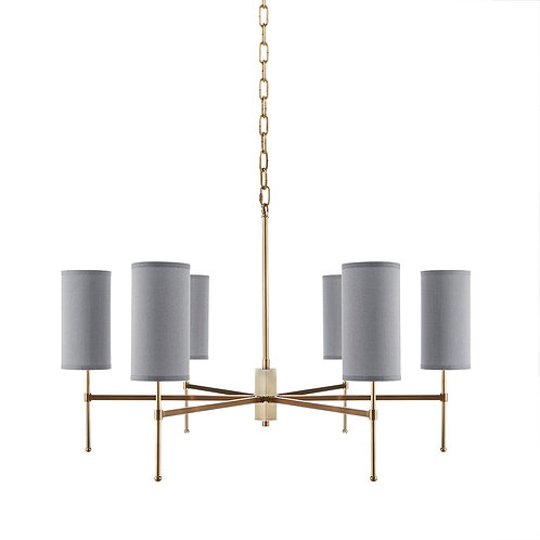 6 Light Grey Shade Brushed Brass Chandelier