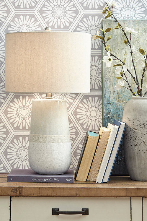 White & Cream Ceramic Table Lamp