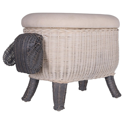 Woven Sheep Storage Stool