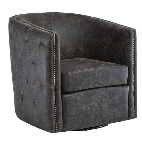 Black Tufted Barrel Swivel Chair