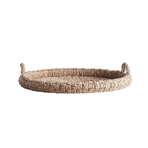 "29"" Round Decorative Braided Bankuan Tray w/ Handles"