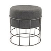 Pewter and Grey Linen Stool Ottoman