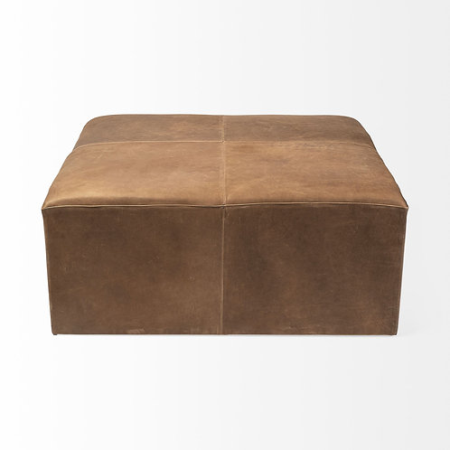 Antique Brown Leather Cocktail Ottoman