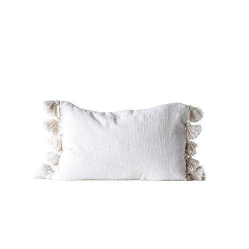 Cream Cotton Woven Slub Pillow w/ Tassels