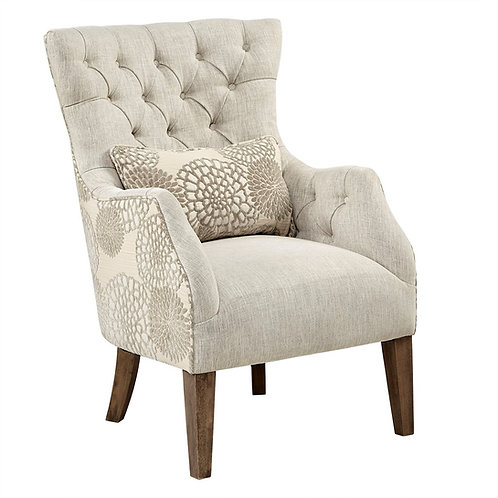 Two-tone Flower Detail Button Tufted Wing Chair