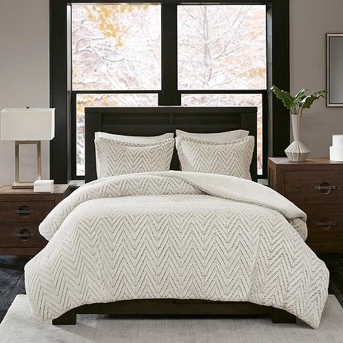 Faux Fur Chevron Bedding Set
