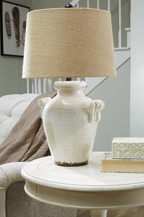 Antique Cream Crackle Glazed Ceramic Table Lamp