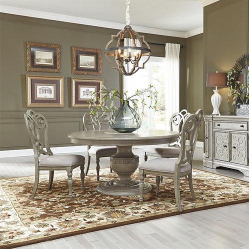 Elegant Grey Finish 5 Pc Pedestal Dining Set