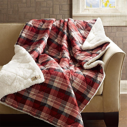 Red Plaid Oversized Softspun Down Alternative Throw