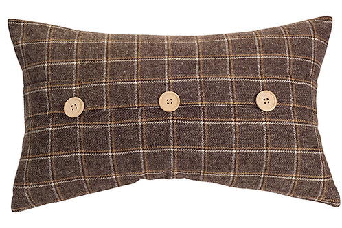Brown Plaid Lumbar Pillow
