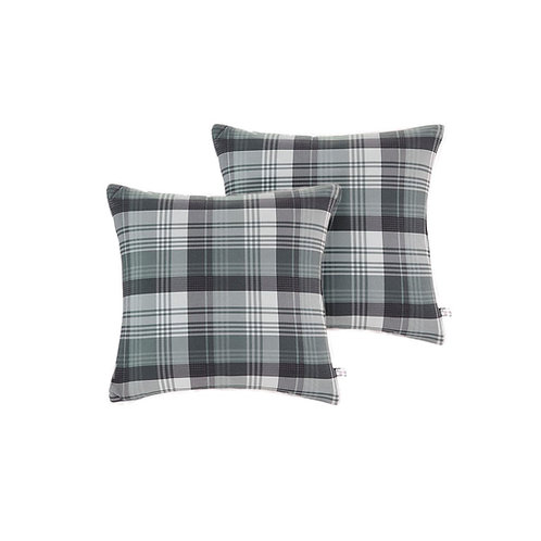 Paire of Grey Plaid Berber Square Pillows