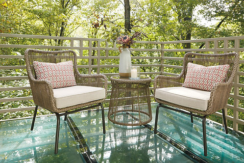 Outdoor Cotton 3 Piece Chairs & Table Set