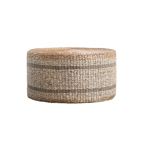 Natural Woven Water Hyacinth & Seagrass Striped Pouf