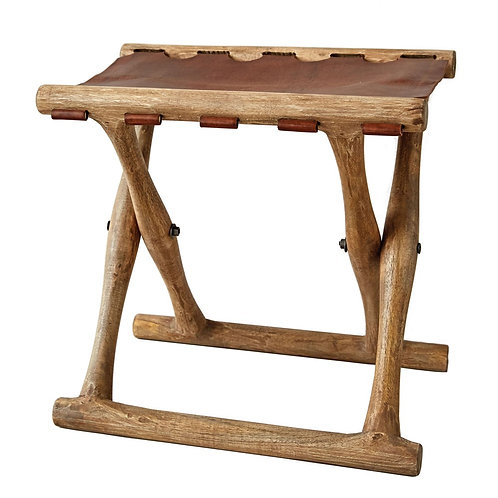 Acacia Wood & Leather Folding Stool