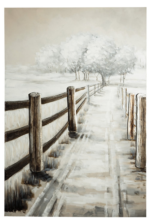 White Trees With Fence Pathway 3D Canvas Wall Art