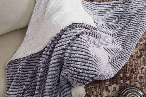 Faux Fur Black and Gray Throw