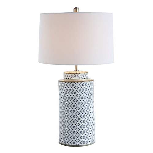 Indigo/White Ceramic Table Lamp with Linen Shade