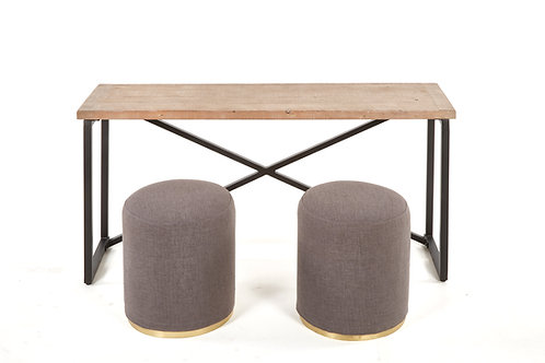 Console with Poufs 3 PC Set