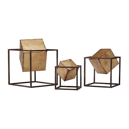 Quad Gold Cubes, Set of 3
