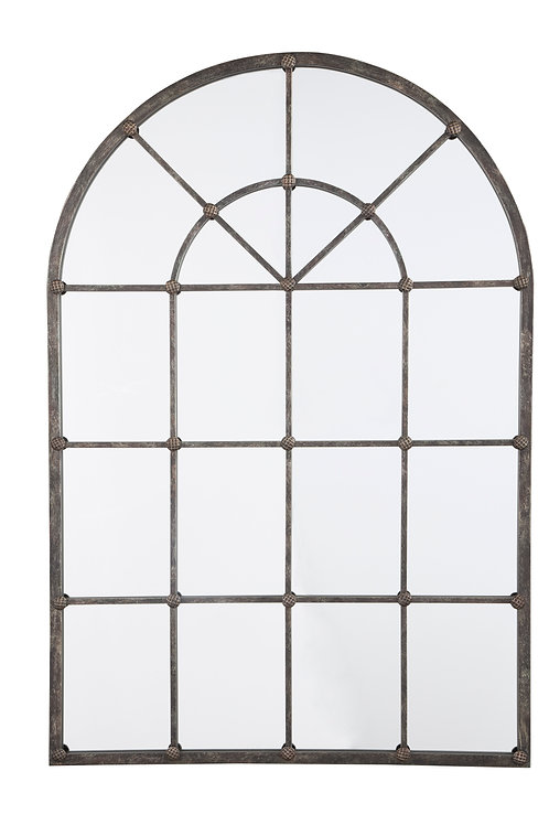 Burnished Bronze Arched Metal Mirror
